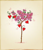 Tree with flowers and hearts — Stock Vector