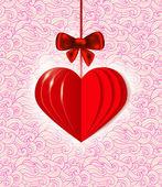 Fondo con corazón de papel rojo — Vector de stock