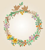 Wreath of flowers and leaves — Stock Vector
