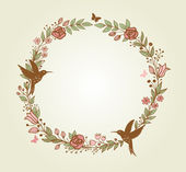 Floral frame and birds — Stock Vector