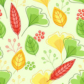 Seamless pattern with green and yellow leaves — Stock Vector