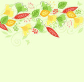 Background with green and yellow leaves — Stock Vector