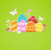 Green Easter background with eggs — Stock Vector