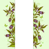 Background with bellflower and leaves — Stock Vector