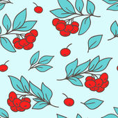 Seamless pattern with red rowanberry — Stock Vector