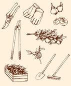 Bahçe aletleri el çekilmiş — Stok Vektör