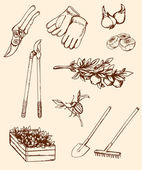 Ručně tažené zahradní nářadí — Stock vektor