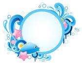Banner redondo con delfín — Vector de stock
