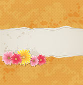 Background with flowers and torn paper — Stock Vector