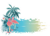 Palms and flamingo — Stock Vector