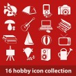16 hobby icon collection — Stock Vector
