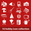 Stock Vector: 16 hobby icon collection