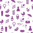 Seamless pattern with women icons — Stock Vector