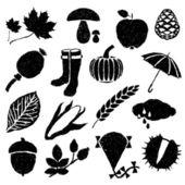 Imágenes otoñales doodle — Vector de stock