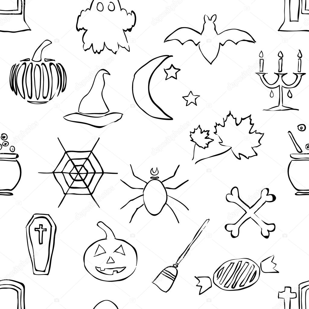 Seamless doodle halloween pattern  Stock Vector #12564609