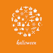 Halloween icons in circle — Stock Vector