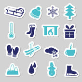 Winter stickers — Stock Vector