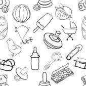Sömlös doodle baby mönster — Stockvektor