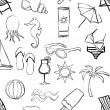 Doodle beach seamless pattern — Stockvectorbeeld