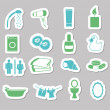 Bathroom stickers — Stock Vector