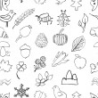 Doodle seamless nature pattern — Stock Vector