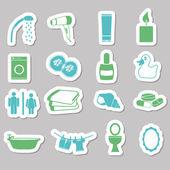 Bathroom stickers — Stock Vector