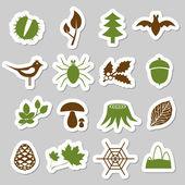 Etiquetas engomadas del bosque — Vector de stock