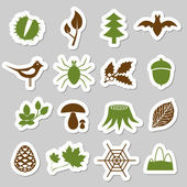 Forest stickers — Vettoriale Stock