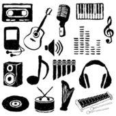 Doodle hudební obrazy — Stock vektor