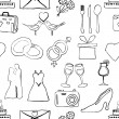 Seamless doodle wedding pattern — Stockvectorbeeld
