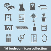 Bedroom icons — Stock Vector