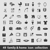 Family and home icons — Stock Vector