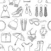 Seamless doodle fashion pattern — Stock Vector