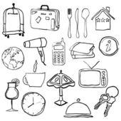 Fotos de hotel doodle — Vector de stock