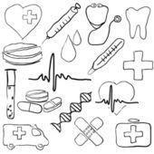Doodle tıbbi görüntüleri — Stok Vektör