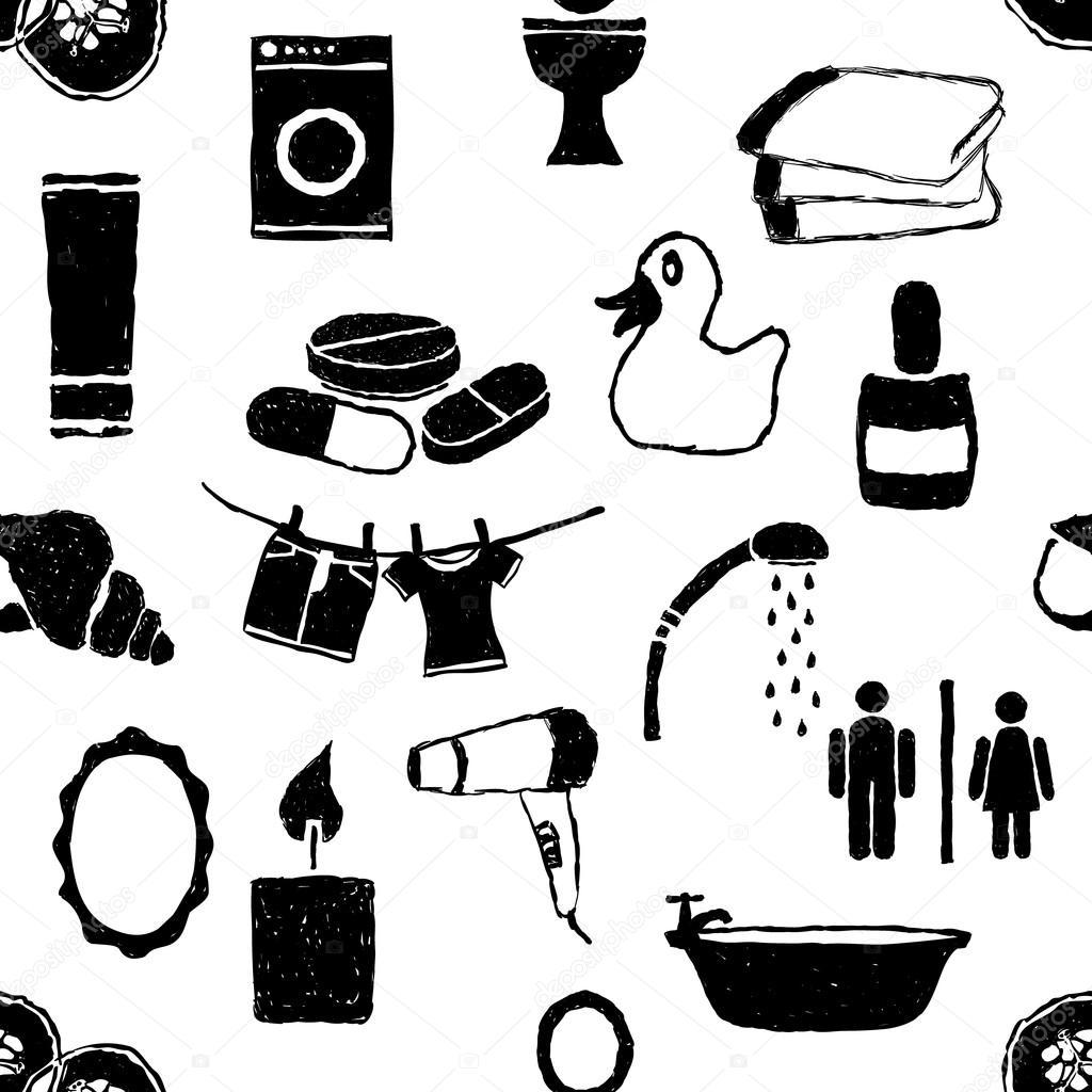 Doodle padrão sem emenda de banheiro — Vetor de Stock © glorcza  #666666 1024x1024 Baixar Banheiro Para Autocad