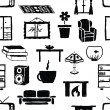 Seamless doodle living room pattern — Stockvektor