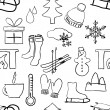 Seamless sketch winter pattern — ベクター素材ストック