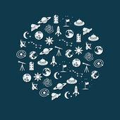 Icônes de l'espace en cercle — Vecteur