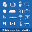 Living room icons — Vector de stock #14347911