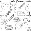 Seamless doodle medical pattern — Stock vektor