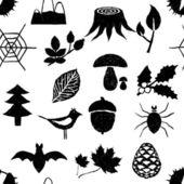 Patrón de bosque doodle inconsútil — Vector de stock