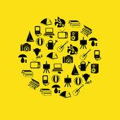 Icônes de passe-temps en cercle — Vecteur