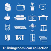 Living room icons — Vector de stock