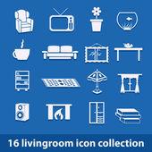 Obývací pokoj ikony — Stock vektor