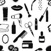 Bezszwowe zbiory kosmetyki wzór — Wektor stockowy
