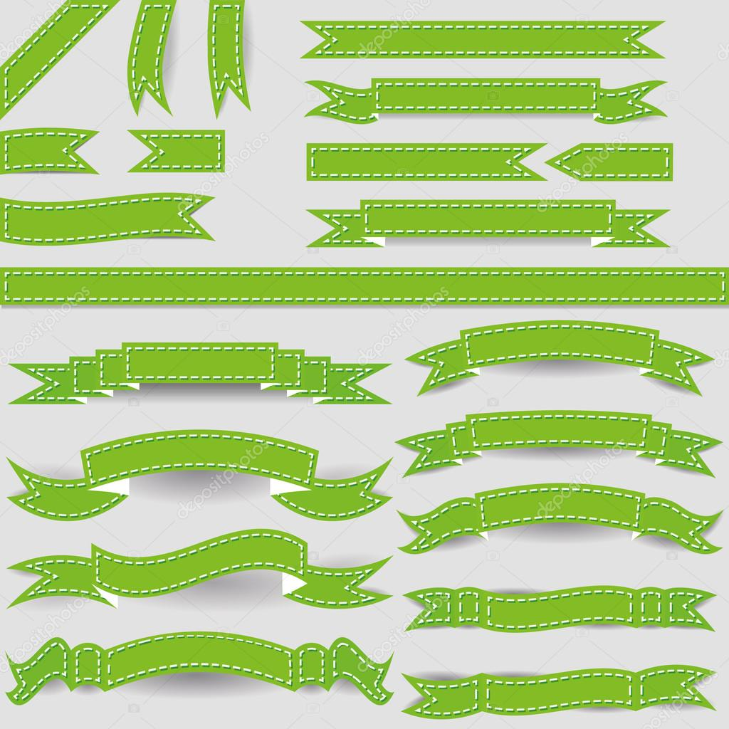 Set of green ribbons  Stock Vector #14692547