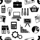 Patrón de finanzas doodle inconsútil — Vector de stock