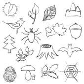 森林涂鸦图像 — 图库矢量图片