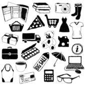 каракули покупки фотографии — Cтоковый вектор